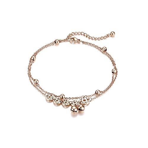 JewelryWe Schmuck Damen Armband Fußkettchen Edelstahl Chinesische Münzen Reichtum Glöckchen Kugel Charmsarmband Armkette Fußkette verstellbar Rosegold