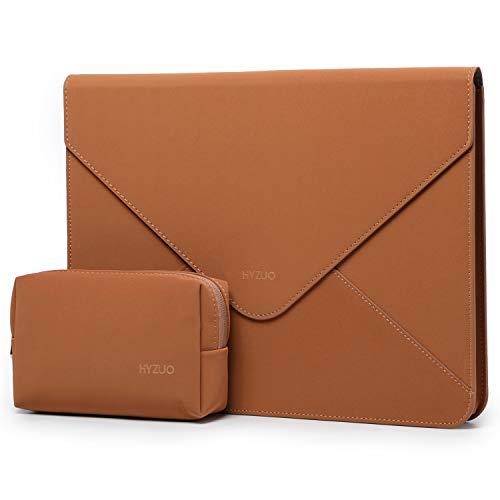 HYZUO 13-13,5 Pulgadas Funda Protectora para Portátiles Maletín de Bolsa Compatible con 13,3 Macbook Pro/MacBook Air/DELL XPS 13/12,9 iPad Pro/13,5 Surface Book/Laptop con Bolsa pequeña, Marrón