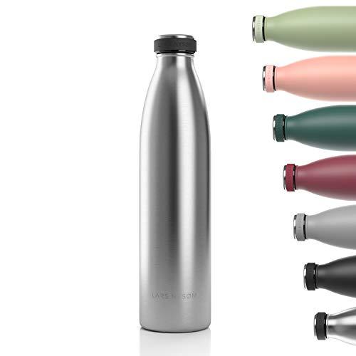 LARS NYSØM Edelstahl 1 Liter Trinkflasche   BPA-freie Isolierflasche 1000ml   Auslaufsichere Wasserflasche für Sport, Fahrrad, Hund, Baby, Kinder (Stainless Steel)