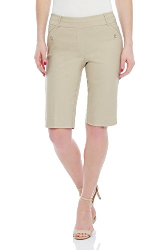 Rekucci Women's Ease Into Comfort Modern Pull-On Bermuda Short with Pockets (10, Stone)