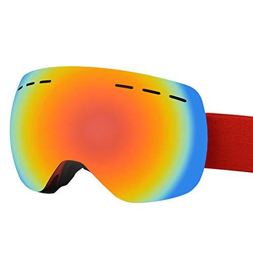 Gafas Esqui Snowboard Nieve Espejo para,Gafas de esquí, antivaho de doble capa, gran superficie esférica, gran campo de visión, gafas de nieve, espejos exteriores a prueba de viento-rojo
