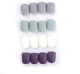 96Pcs Colorful Short Nails Full Cover Matte False Gel Nails Art Tips Sets(Black Brown Mint Green)(Soft and Thin)