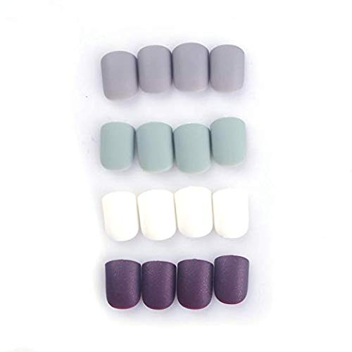SIUSIO 96Pcs Fake Nails Press on Colorful Acrylic Full Cover Matte Top Coat Nail for Salons and DIY Covered Gel Short False Nail Art Tips Sets for Women and Girls(Black Brown Mint Green)