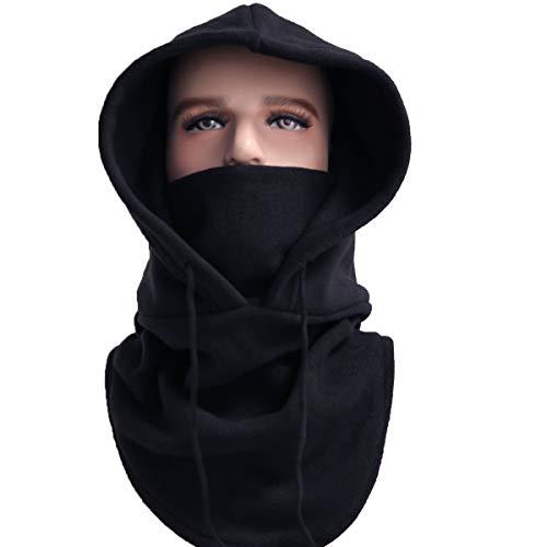 XINGZHE Balaclava Ski Mask Cold Weather Face Mask Neck Warmer Fleece Hood Winter Hats (Black)