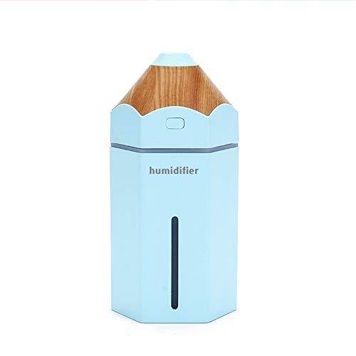 QAQWER Luchtbevochtiger, USB, mini potlood, creatief cadeau, creatieve luchtreiniger voor de tafel met nachtlampje, led, 7 kleuren, 230 ml, Dura 6 uur