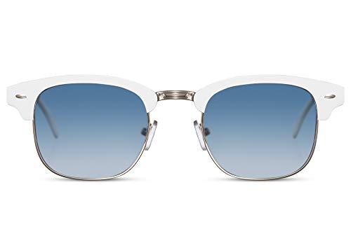 Cheapass Occhiali da Sole Bianchi Metallici Montatura Rettangolare e Lenti Gradienti Blu da Uomo UV400 protetti