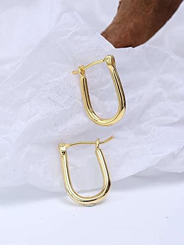 GO-AHEAD Mujer Pendientes Pendientes chapados en Oro 18k Pendientes de aro Gruesos Pendientes de Mujer Ronda Pendientes hipoalergénicos Pendientes Ligeros de joyería Minimalista Ligero