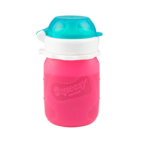 Pink 3.5 oz Squeasy Snacker Spill Proof Silicone Reusable Food Pouch - for Both Soft Foods and Liquids - Water, Apple Sauce, Yogurt, Smoothies, Baby Food - Dishwasher Safe
