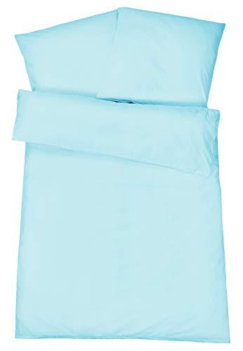 Carpe Sonno Gestreifte Mako-Brokat Damast Bettwäsche mit Stil 135 x 200 cm in hochwertiger Qualität Blau - 100% gekämmte Baumwolle – Bettbezug Set 200x135 mit Kopfkissen-Bezug und edlen Fein-Streifen