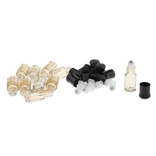 Amuzocity 10pcs Bouteilles en Verre 3ml pour L'Huile Essentielle/Parfum - Jaune clair