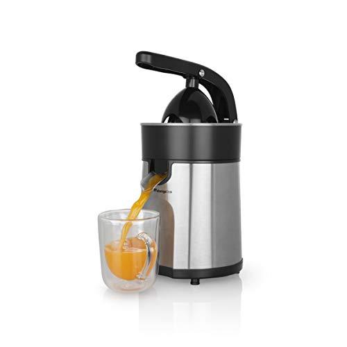Orbegozo EP 4100 - Exprimidor zumo eléctrico de naranjas, brazo articulado, acero inoxidable, motor profesional AC de 85 W, sistema antigoteo, incluye 2 conos para piezas de distinto tamaño