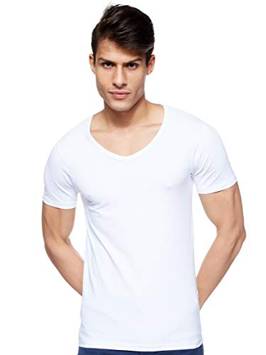 JACK & JONES Herren T-Shirt Basic V-neck Tee S/S Noos, Einfarbig, WeiÃY (Opt White), M