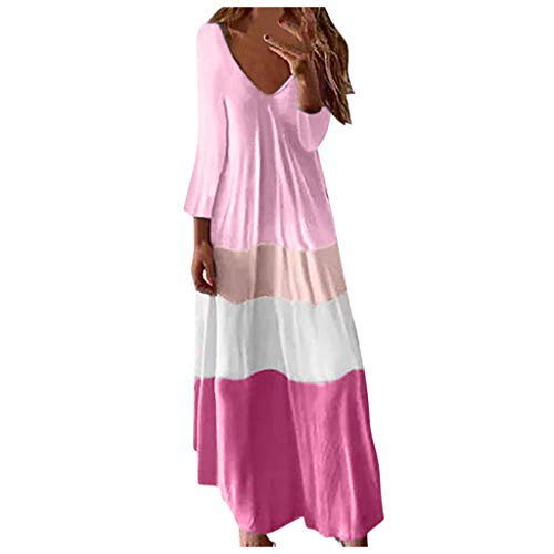 FEISI22❀ Women Casual Split Tie Dye Striped Beach Split Irregular Hem Dress Boho Floral Print Tank Long Maxi Dress