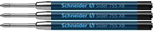 Schneider Slider 755 Kugelschreibermine (ViscoGlide-Technologie, dokumentenecht, XB=Extrabreit) 3er Blisterkarte, schwarz