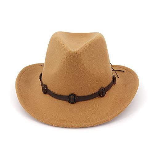 SIEYS Sombrero de Vaquero Occidental Wide Brim Woolen Fieltro Jazz Panamá Gorro Western Cowboy Cowgirl Hats con Cuero Decorado con Trilby Fedora para Hombres Mujeres