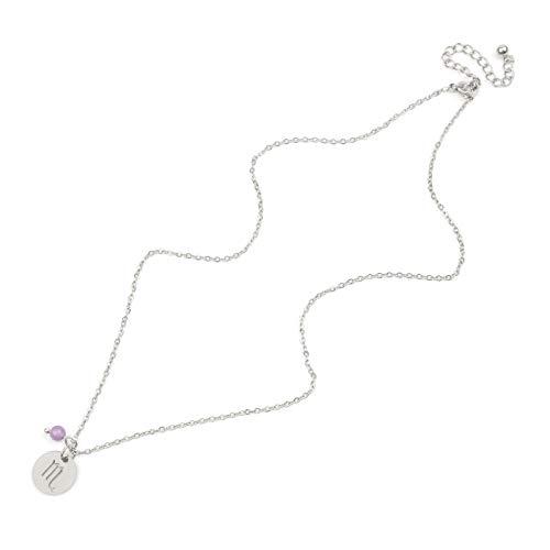 Halskette Stern Sternzeichen 12 Sternbild Anhänger Halsketten für Frauen Männer Steinbock Leo Skorpion Edelstahl-20-Skorpion