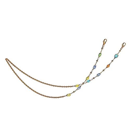 Diaod Cadena de Cristal de Cristal de Color óvalo Bola de Cristal de Cristal Gafas de Cadena Cadena de Cordones Cuerdas de Correa Multiusos Multiusos Collar Mujer Joyería