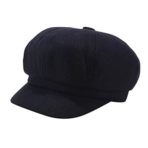 xiwei Gorra de Beisbol Sombrero de Invierno Vintage Mujer Sombrero sólido Boina Boina de Pintor Coreano Boina de Vendedor de periódicos Sombrero de Pintor Elegante Gorras de Vendedor de periódicos