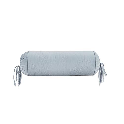 Harbor House Modern Design Decorative Pillow Hypoallergenic Sofa Cushion Lumbar, Back Support, D7 x18, Crystal Beach, Cotton Blue Bolster