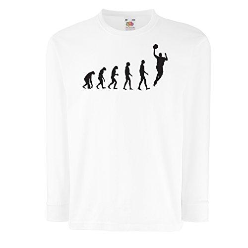 Camisetas de Manga Larga para Niño evolución de Baloncesto - Canasta de la Calle, me Encanta Este Juego, Gran Fan de Regalo (12-13 Years Blanco Negro)