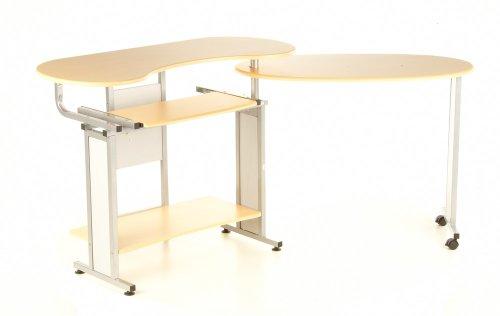 hjh OFFICE Buerostuhl24 673789 Computertisch Genius Fold-it, Ahorn/Silber