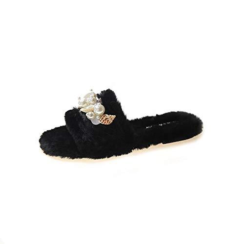 YANSHOU Hombres y Damas Caliente Zapatillas de Espuma,Zapatillas de Piel de Concha, Zapatillas de algodón Antideslizantes Planas de Moda-Negro_36,Zapatillas de Lana de Invierno