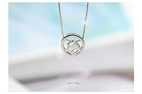 LXDZXY Joyas, Collar De Plata Esterlina S925 Nuevo Cubo De Rubik con Diamantes Collar De Plata Esterlina