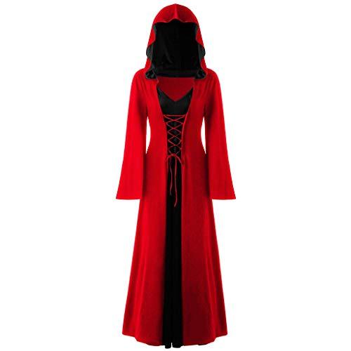 INLLADDY Kleid Damen Gothic Kapuzenkleid Retro Umhang Robe Halloween Karneval Party Cosplay KostüM Deko Rot M