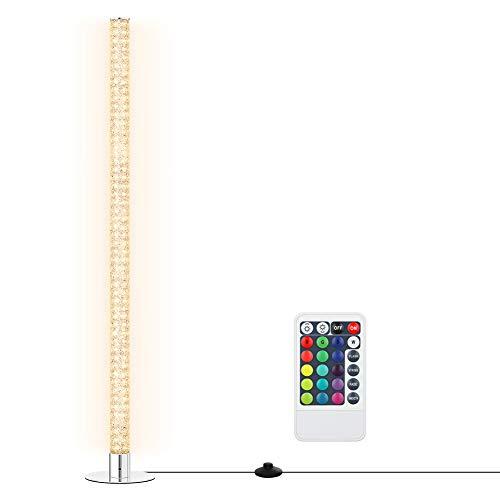 EDISHINE Lámpara de pie LED RGB con mando a distancia, lámpara de pie de cristal con cambio de color RGB en cromo, regulable 3000 K (blanco cálido), máx. 2688 lúmenes, certificado CE