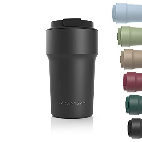 LARS NYSØM Thermo Kaffeebecher-to-go 500ml | BPA-freier Travel Mug 0.5 Liter mit Isolierung | Auslaufsicherer Edelstahl Thermobecher für Kaffee und Tee unterwegs | Teebecher (Schwarz)