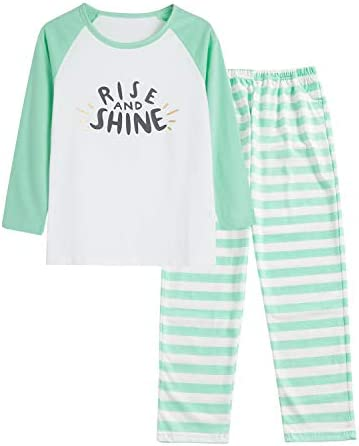 Pajamas for Girls Size 16 Pants Long Sleeve Jammies Glitter Text Tween Teens Fall Cloths Set product image