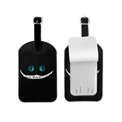 Cheshire Gato Sonrisa Equipaje Etiquetas Microfibra Cuero Personalizado Maleta Tag Set Equipaje Etiquetas Identificación Accesorios Viaje Microfibra Cuero PU