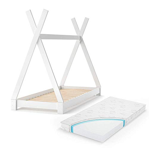 VitaliSpa Kinderbett Tipi Hausbett Indianer Bett Kinderhaus Massivholz Zelt Holz (Weiß mit Matratze, 80 x 160 cm)