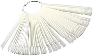 50 PCS Transparent Fan-shaped Nail art Tips Display Polish Board Display Practice Sticks Tool(Natural Color)
