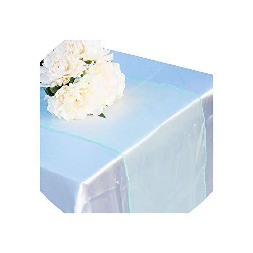 30 kleuren partij banket decoratie boog Swag bruiloft decoratie kristal Tulle pruim Organza Sheer Gauze Element tafelloper, 30 X 275Cm, Paars 30x275cm mintgroen