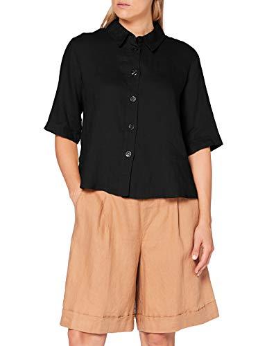 United Colors of Benetton (Z6ERJ Camicia Camisa, Negro 100, L para Mujer