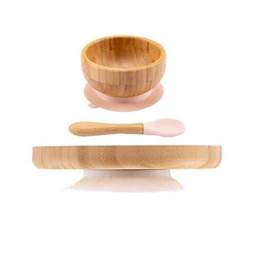 Promise Babe Bamboo Geschirr Set Bambus Entwöhnungsschale Schüssel und Teller aus Natürlichem Bamboo mit Saugnapf für Babys (Schüssel+Teller+Löffel Beige)
