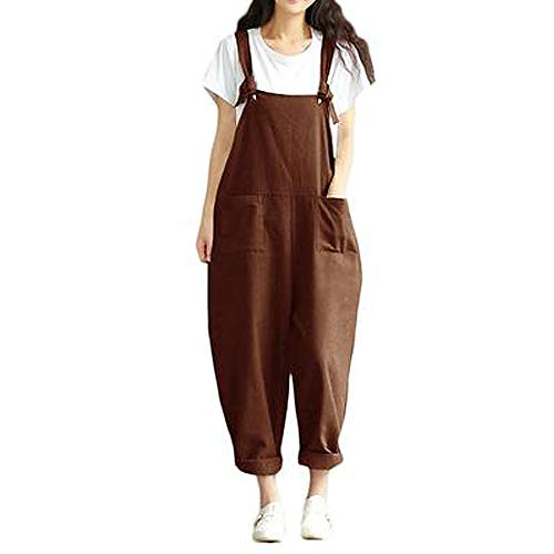 Damen Frauen Retro Latzhose Lässig Insgesamt Baggy Jumpsuits, Morbuy Leinen Taschen Playsuit Hose Lange Harem Casual Overalls Täglichen Trousers Pants Schwangere Hosen (M,Brown)