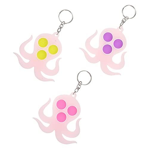 VALICLUD 3 Piezas Cool Llaveros Octopus Silicona Llaveros para Llaveros Juguete de Descompresión para Mujeres Niños Cartera Bolsa Mochila Coche Llave Regalo Colgante- Color Surtido