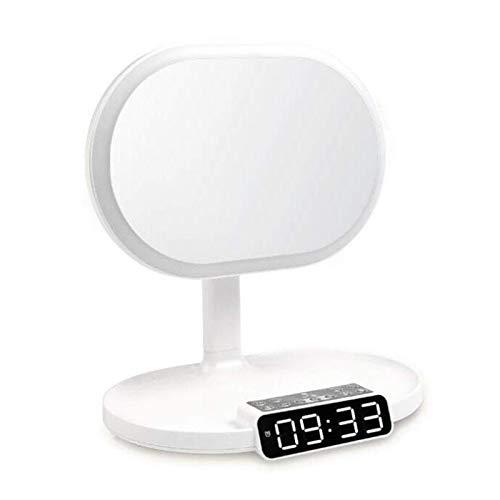 Belleashy Espejos multifuncionales del maquillaje del espejo del maquillaje con el portátil de la lámpara de mesa de la luz del LED iluminado para el