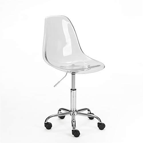 Urban Shop WK657754 Acrylic Rolling Chair, Clear