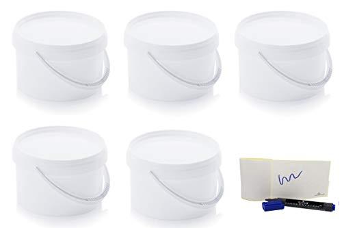 MARKESYSTEM - Cubo HERMÉTICO Catering - Pack de 5 X 2,6 litros - Cubos de Plástico con Tapa - Contenedores Apilables - Envasar Alimentos, Líquidos y Pinturas - Polipropileno Blanco + Kit Etiquetado