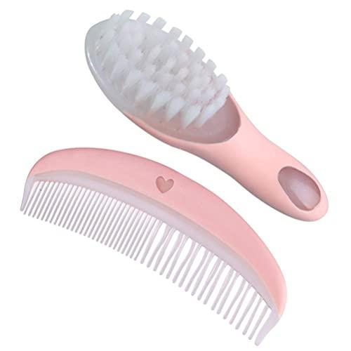 LIXBD Baby Haarbürste und Kamm Set weiche Neugeborene Säugling Massage Haarbürste Badebürste für Baby Haarpflege (Rosa)