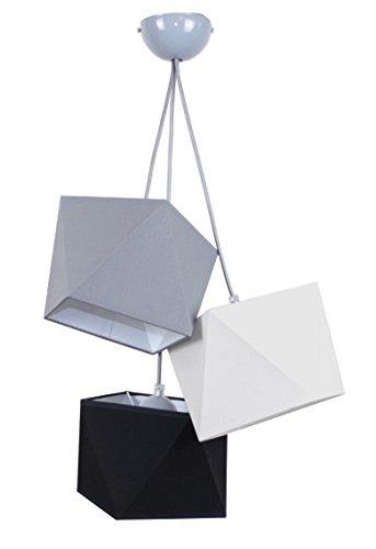 Hanglamp mooie hanglamp diamant L3 metaal vele kleuren Lampenkap: grijs-wit-zwart.