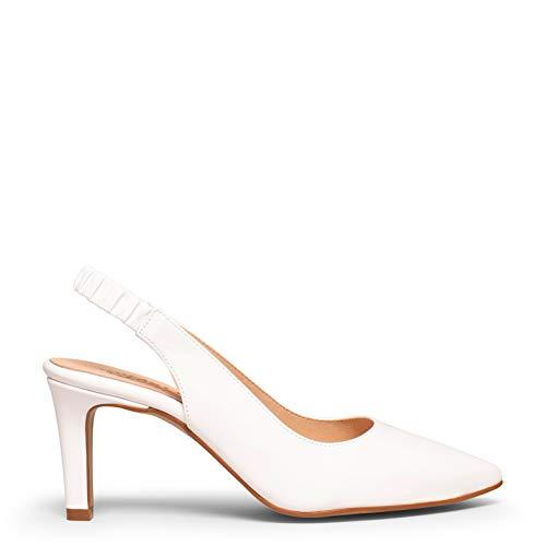 Cocktail Zapato Destalonado Blanco de tacón Fino