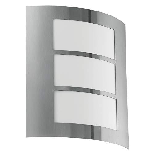 EGLO CITY Aplique de pared para exterior Acero inoxidable E27 15 W - Iluminación al aire libre (Aplique de pared para exterior, Acero inoxidable, Acero inoxidable, IP33, Entrada, Jardín, Patio, I)