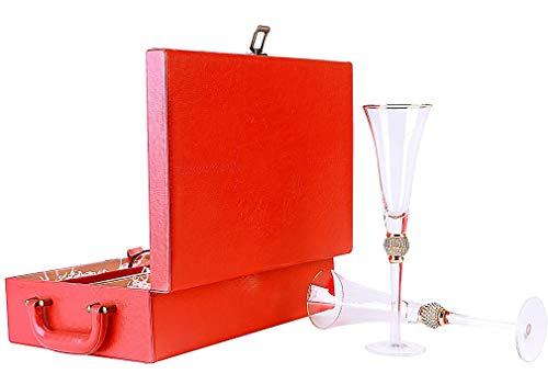 ZKHD 7 oz, cristalería de 11 Pulgadas de Altura y taleware, Conjunto de barrancos de 2 Flautas de Champagne - Gafas de Diamantes de imitación con llanta de Oro - Tallo Largo