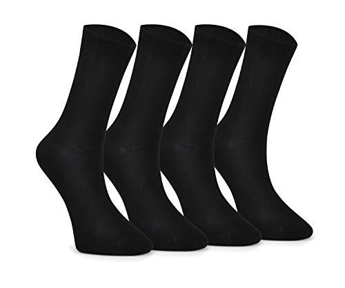 43-46 Bambus Socken Damen und Herren Anzugsocken Täglich Anti-Schweiss Geruchs-Killer Antibakteriell Nahtlos Ideal für Valentinstag Hergestellt in der Türkei (4 Paar Schwarz)