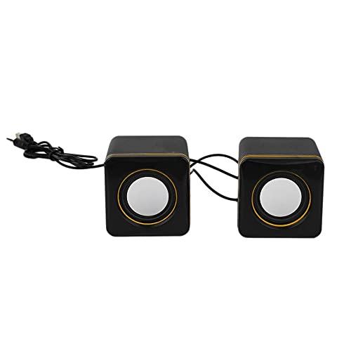 SENZHILINLIGHT Mini estéreo, portátil, cuadrado, con cable, USB, audio, reproductor de música, altavoz, MP3, ordenador portátil, sin función de recarga