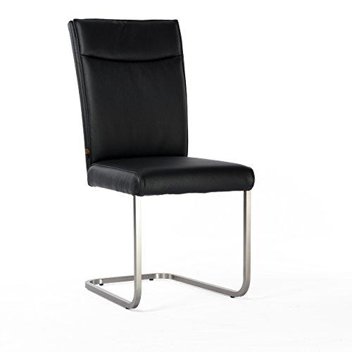 Unbekannt Lederstuhl Freischwinger Rindsleder Schwarz Edelstahl gebürstet Stuhl Stühle